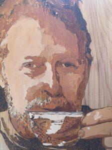 Painting of Rick Muir drinking tea