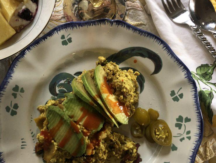 tortilla tofu scramble with avocado