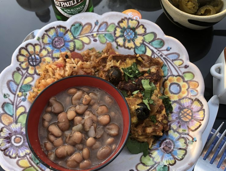 Vegan enchiladas, Spanish rice and Yaya beans
