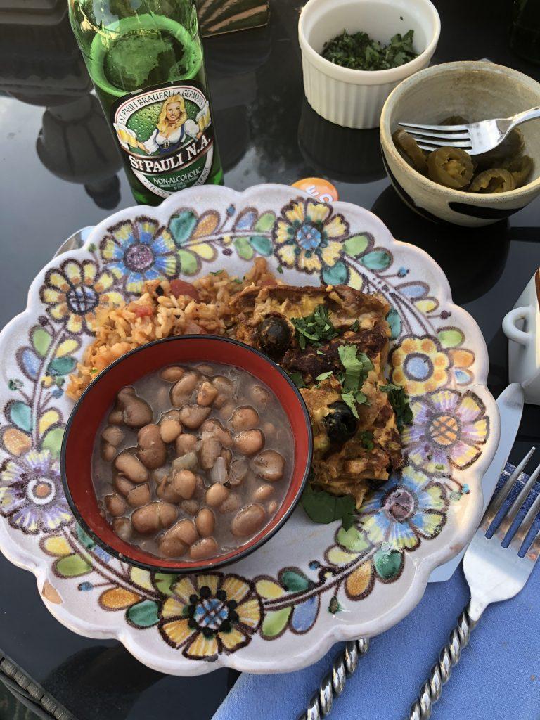Vegan enchiladas, Spanish rice and Yaya beans